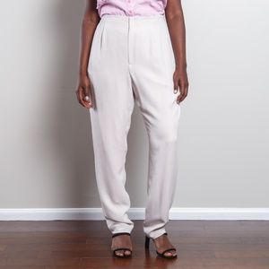 Vintage 100% Silk High Waisted Off White Trousers